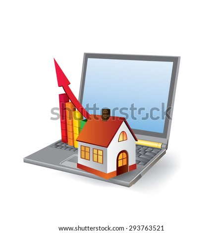 Chart of growth of real estate market, or building. conceptual vector images. - stock vector