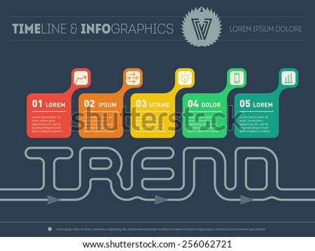 Chart or Time line of trends. Infographic timeline with five parts. Vector web template with icons and design elements on dark background. - stock vector