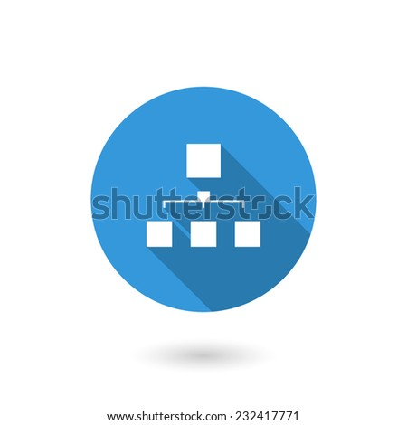 Chart organization icon. Vector illustration of flat blue color icon with long shadow - stock vector