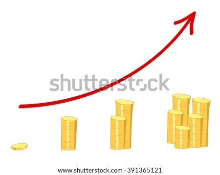 chart with a rising red arrow and golden coins showing growth of wealth - stock vector
