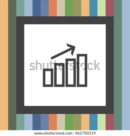 Chart with bars growth line vector icon. Success sign. Finance graph symbol