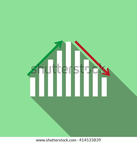 chart with green and red arrows. icon. vector design