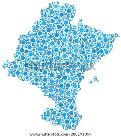 Chartered Community of Navarre - Spain - in a mosaic of blue bubbles - stock vector