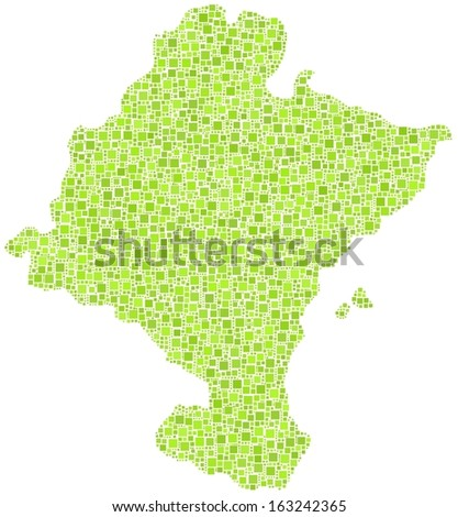 Chartered Community of Navarre - Spain - in a mosaic of green squares. A number of 4377 little squares are accurately inserted into the mosaic.. White background. - stock vector