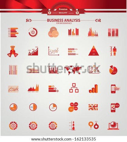 Charts and Business analysis,Finance graph,For Infographics,Red version,vector - stock vector