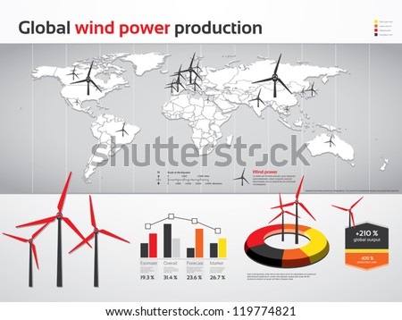 Charts and graphics for global wind power production - stock vector