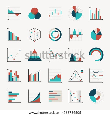 charts diagrams and graphs flat icons - stock vector
