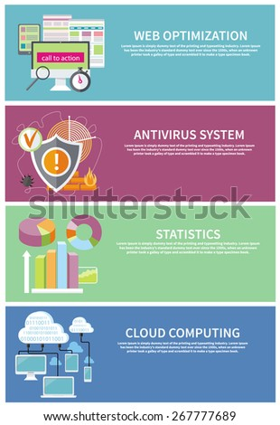 Charts graphs and parameters. Statistic and analytics. Shield antivirus. Antivirus system. Cloud services concept. SEO optimization, programming process and web analytics elements in flat design  - stock vector
