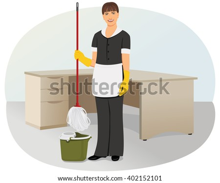 charwoman is cleaning in the office maid and household chores