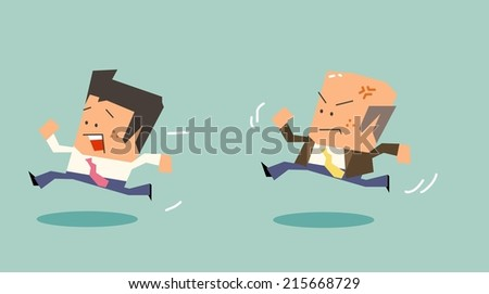 Chased by boss due to bad mood. Flat vector illustration - stock vector