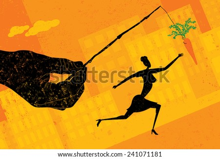 Chasing a Carrot - stock vector