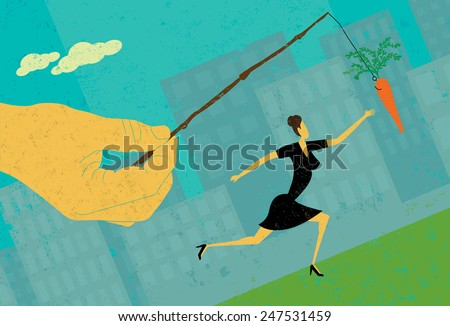 Chasing a Carrot A businesswoman chasing a dangling carrot. The hand, woman, and carrot are on a separate labeled layer from the background. - stock vector