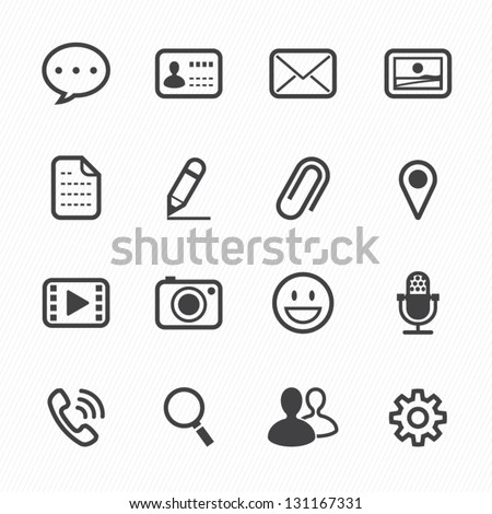 Chat Application Icons with White Background - stock vector