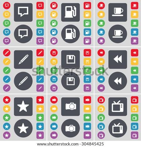 Chat bubble, Gas station, Cup, Pencil, Floppy, Rewind, Star, Camera, Retro TV icon symbol. A large set of flat, colored buttons for your design. Vector illustration - stock vector