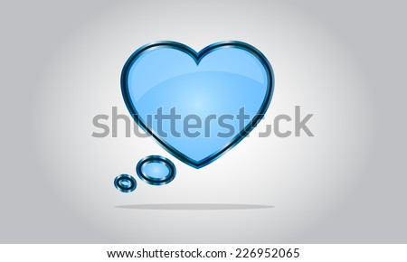 Chat bubble icon - abstract vector glossy speech - valentine's day - blue - stock vector