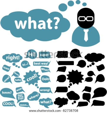 chat & bubbles, idea icons, signs, vector illustrations - stock vector