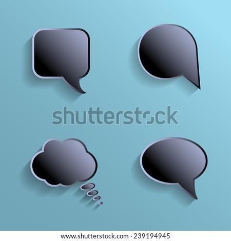 Chat bubbles - paper cut design. Black color on marine background. - stock vector