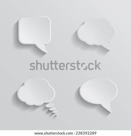 Chat bubbles - paper cut design. White color on light grey background. Dialog clouds.