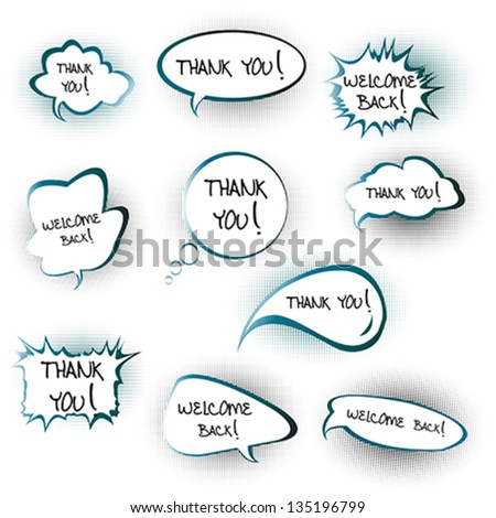 Chat bubbles with Thank you and Welcome back messages - stock vector