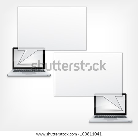 Chat Concept. Laptop on Grey Gradient Background. Vector.