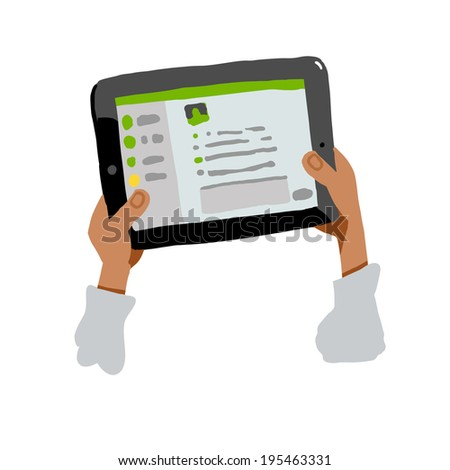 Chat correspondence with the aid of the tablet, the tablet in the hands - stock vector