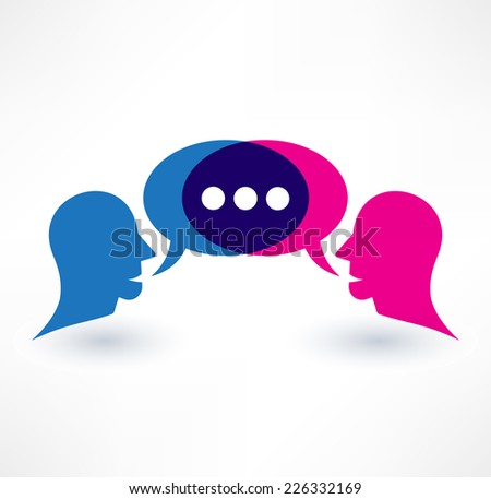 Chat, dialogue and communication icon. Logo design. - stock vector