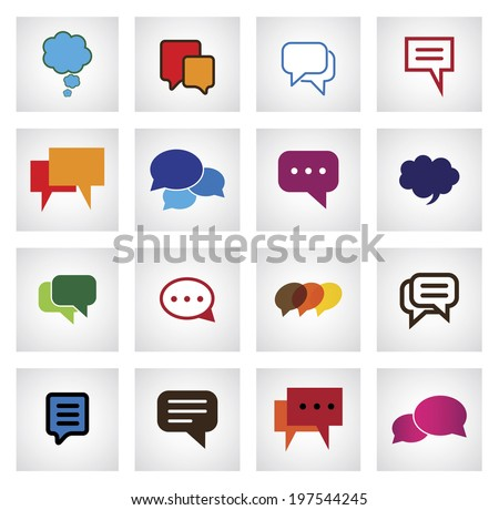 chat flat icon in different colors, shapes, sizes - vector icons. This graphic illustration also represents online talk, speech bubbles, community interaction, mobile app messaging, internet talk - stock vector