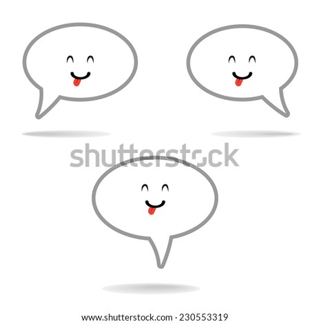 Chat Flat Icon set on white background : happy face emotion vector - stock vector