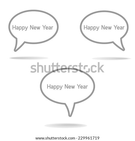Chat Flat Icon set on white background : Happy New Year