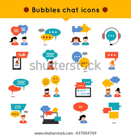 Chat flat icon set people who communicate, and over their heads different types of bubbles vector illustration - stock vector