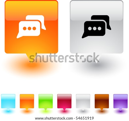 Chat glossy square web buttons. - stock vector