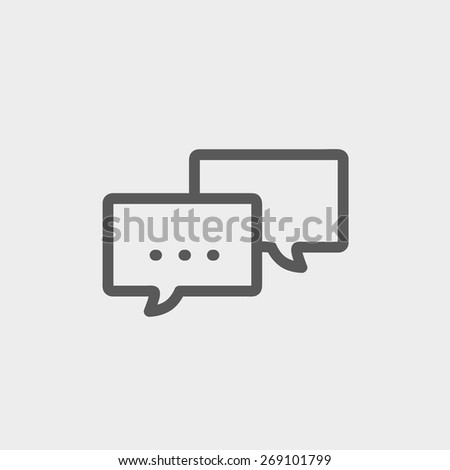 Chat icon thin line for web and mobile, modern minimalistic flat design. Vector dark grey icon on light grey background. - stock vector