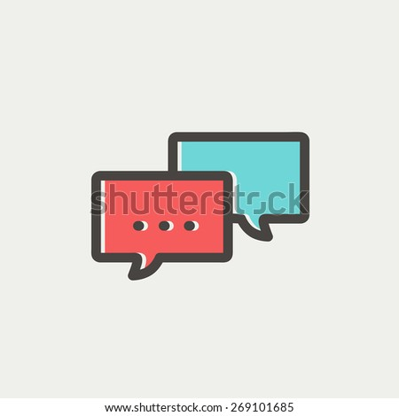 Chat icon thin line for web and mobile, modern minimalistic flat design. Vector icon with dark grey outline and offset colour on light grey background. - stock vector
