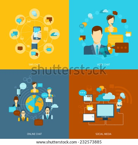 Chat icons flat set with voice online sms chat social media isolated vector illustration - stock vector