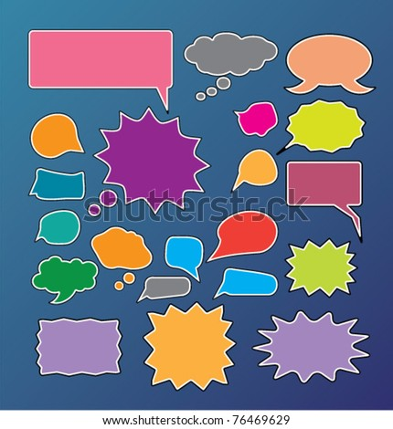 chat & idea, talking icons, signs, vector illustrations - stock vector