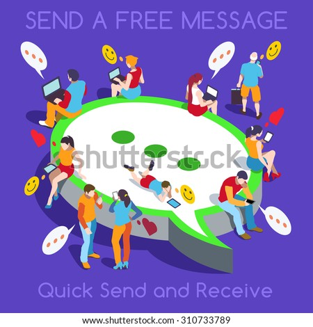 Chat messaging communication flat 3d isometry isometric concept vector illustration Message bubbles and young joyful male female sitting laptop tablet phone collection JPEG JPG EPS 10 Image Drawing AI - stock vector