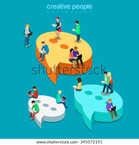 Chat messaging communication flat 3d isometry isometric concept web vector illustration. Message bubbles and young joyful male female sitting laptop tablet phone. Creative technology people collection - stock vector