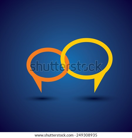 chat or talk symbol or speech bubble - concept vector line icon. This also represents intimate relationship, deep communication, love talk, discussion, open dialogue, close interaction - stock vector