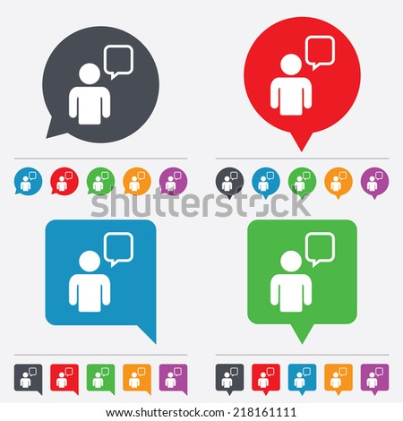 Chat sign icon. Speech bubble symbol. Chat bubble with human. Speech bubbles information icons. 24 colored buttons. Vector - stock vector