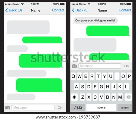 iphone green messages chat sms application template can placeのベクター画像素材 193739087 11903