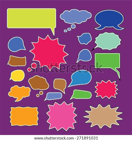 chat, speech, bubbles, comics icons, signs, illustrations set, vector - stock vector