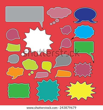 chat, speech icons, signs, symbols, illustrations set on background, vector - stock vector