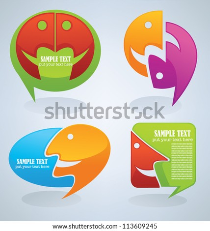 chat, talk and communication , vector set of icons and symbols - stock vector