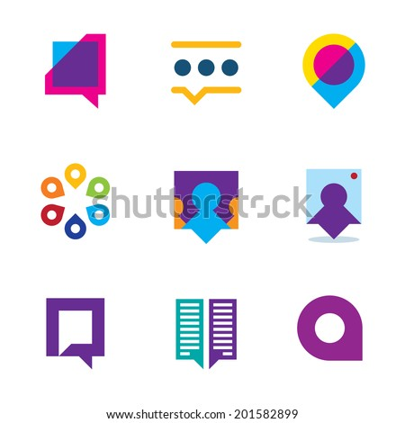 Chat talk bubble people conversation video communication icon logo set - stock vector