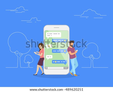 Chat talk concept illustration of young people using mobile smartphone for sending messages to each other. Flat design of guy and woman standing near big smartphone with speech bubbles in chat