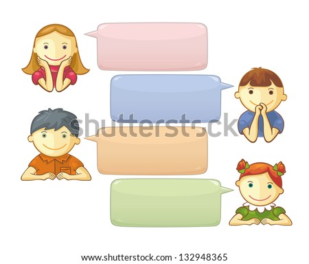Chat Template With Cute Personages. Speech bubbles with space for your text. - stock vector