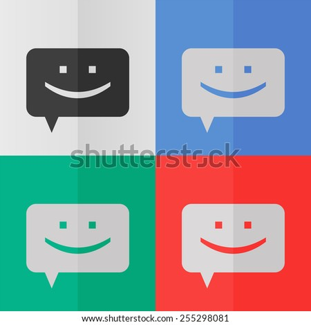 Chat vector icon. Effect of folded paper. Colored (red, blue, green) illustrations. Flat design - stock vector