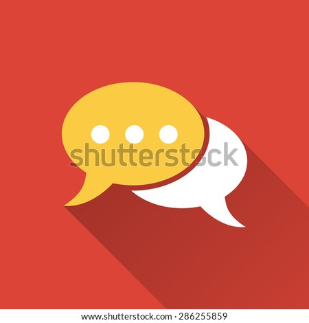 Chat - vector icon on a red background. - stock vector