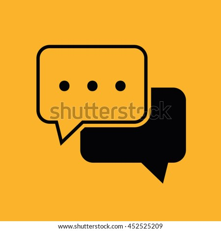 Chat vector icon. Yellow background - stock vector