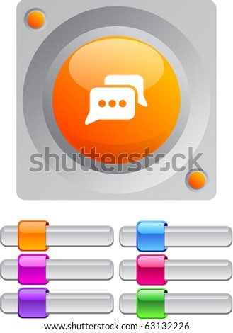 Chat vibrant round button with additional buttons. - stock vector